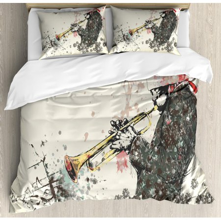 New Orleans Duvet Cover Set King Size, Trumpeter Man with Hand Drawn Flowers and Color Splashes, Decorative 3 Piece Bedding Set with 2 Pillow Shams, Dark Green Vermilion and Cream, by Ambesonne ()