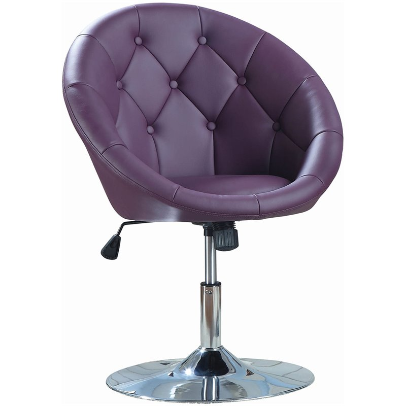 Bowery Hill Faux Leather Swivel Accent Chair In Purple And