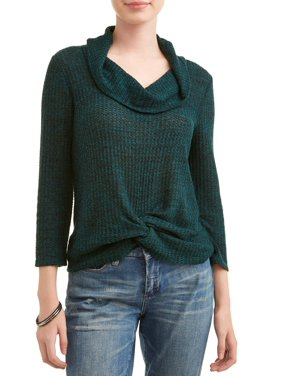 809cd46e03 Product Image No Boundaries Juniors' Waffle Knit Twist Front Cowl Neck  Sweater