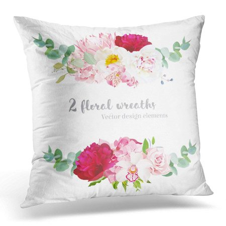 USART Floral Mix Wreath Pink Hydrangea Rose Protea White and Burgundy Red Peony Orchid Alstroemeria Lily Pillow Case Pillow Cover 20x20 inch (Red Rose Wreath)