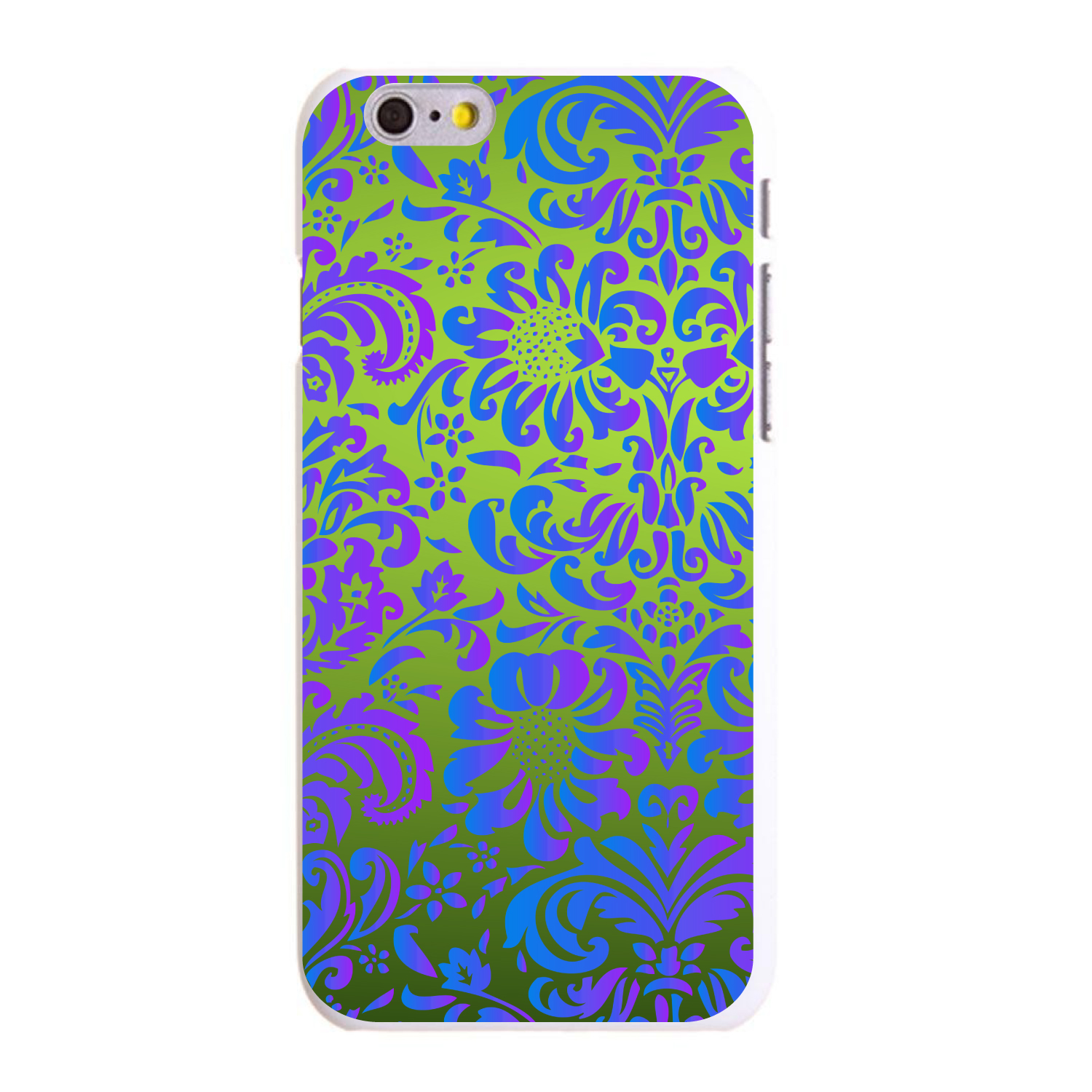 "CUSTOM White Hard Plastic Snap-On Case for Apple iPhone 6 / 6S (4.7"" Screen) - Green Purple Blue Floral Pattern"