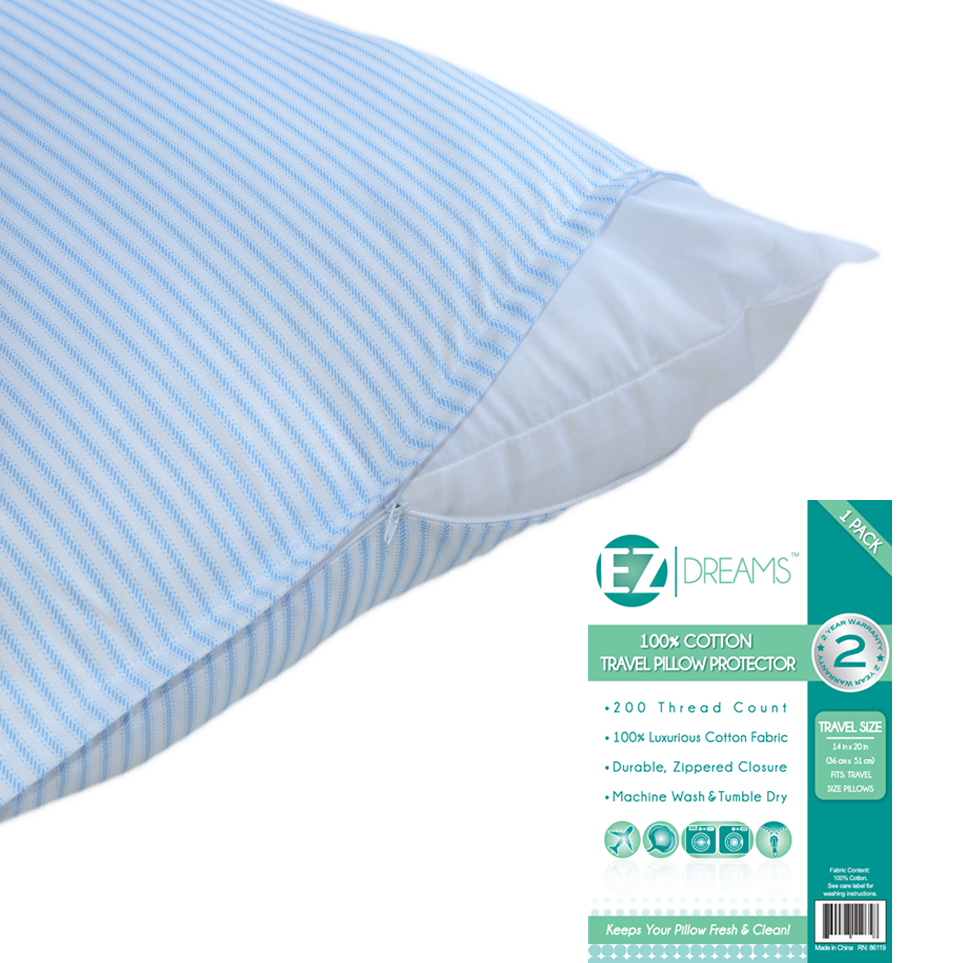 Click here to buy EZ Dreams Travel Size 100% Cotton Pillow Protector: 200 Thread Count, Zippered, 14in x....
