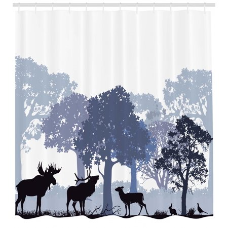 Moose Shower Curtain Forest Design Abstract Woods North American Wild Animals Deer Hare Elk Trees Fabric Bathroom Set With Hooks Black White Grey