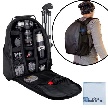 Deluxe Camera/Video Padded Backpack for SLR / DSLR Cameras with eCostConnection Microfiber