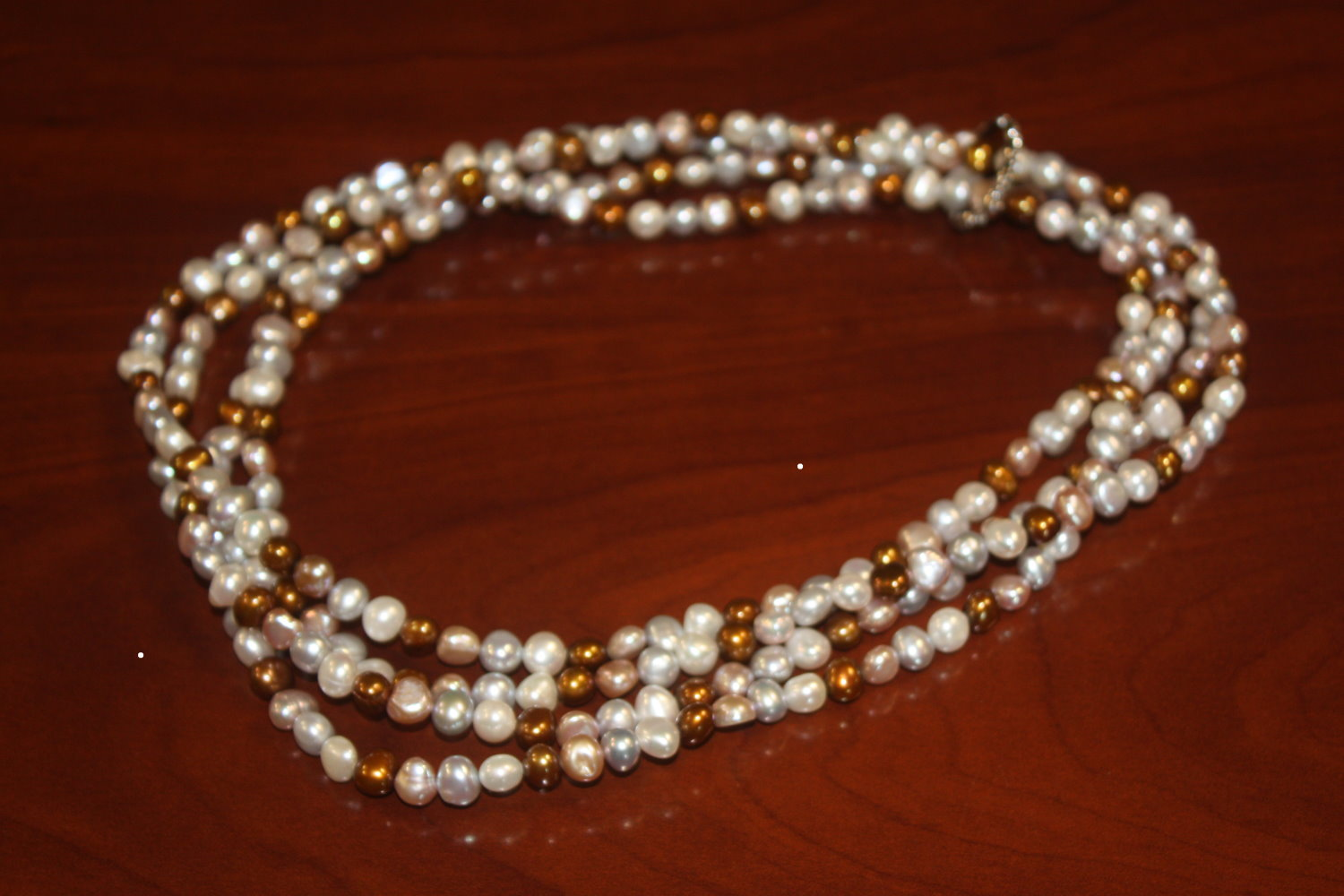 Long 84-inch Cultured Freshwater Pearl Necklace Gray, White, Brown, and Pink by unknown