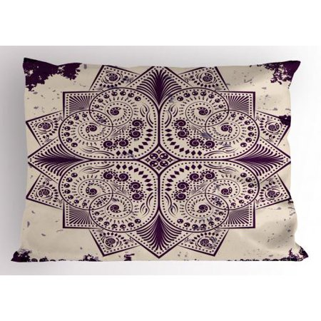 Purple Mandala Pillow Sham Snowflake Form Inspired Geometric Design on Grungy Background, Decorative Standard Size Printed Pillowcase, 26 X 20 Inches, Dark Purple and Eggshell, by Ambesonne