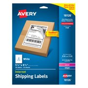 "Avery Shipping Labels, 5-1/2"" x 8-1/2"", Trueblock, White, 20 Labels (18126)"