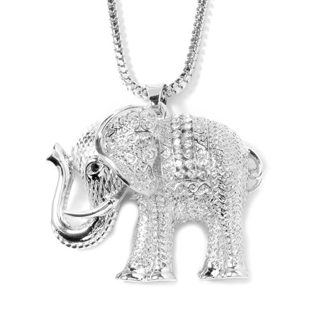 925 Sterling Silver/Silvertone Elephant Pendant Necklace for Women (Mother-Child/Filigree/Dot/Silver)