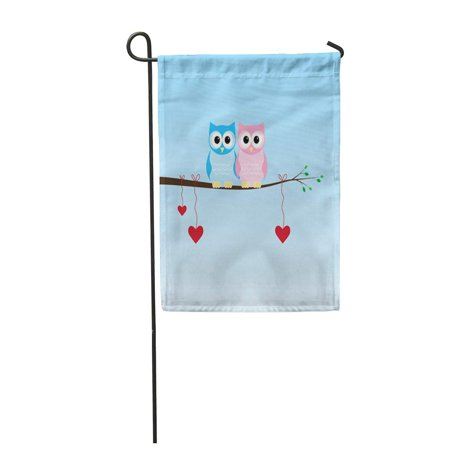 KDAGR Blue Owls in Love Colorful Bird Cartoon Color Garden Flag Decorative Flag House Banner 12x18 inch