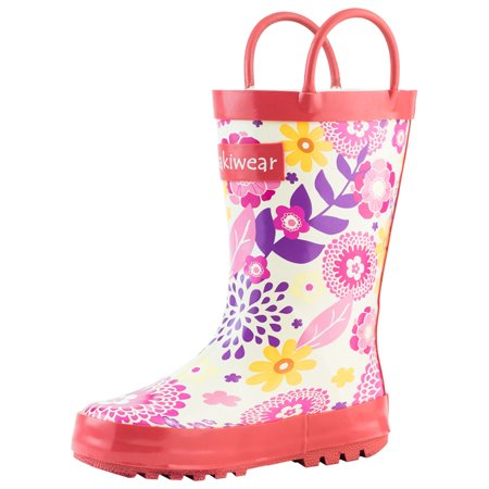 Oakiwear Kids Rain Boots For Boys Girls Toddlers Children Pink Flowers