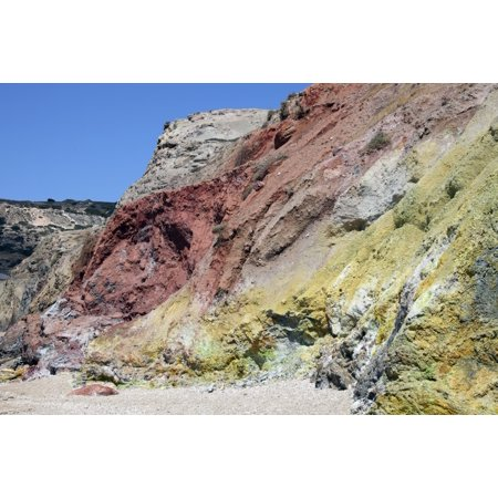 Hydrothermally altered red and yellow cliffs with fresh fumarolic deposits Greece Canvas Art - Richard RoscoeStocktrek Images (35 x 23)