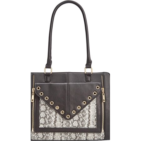 - INC Womens Bridget  Faux Leather Snake Print Tote Handbag Black Medium