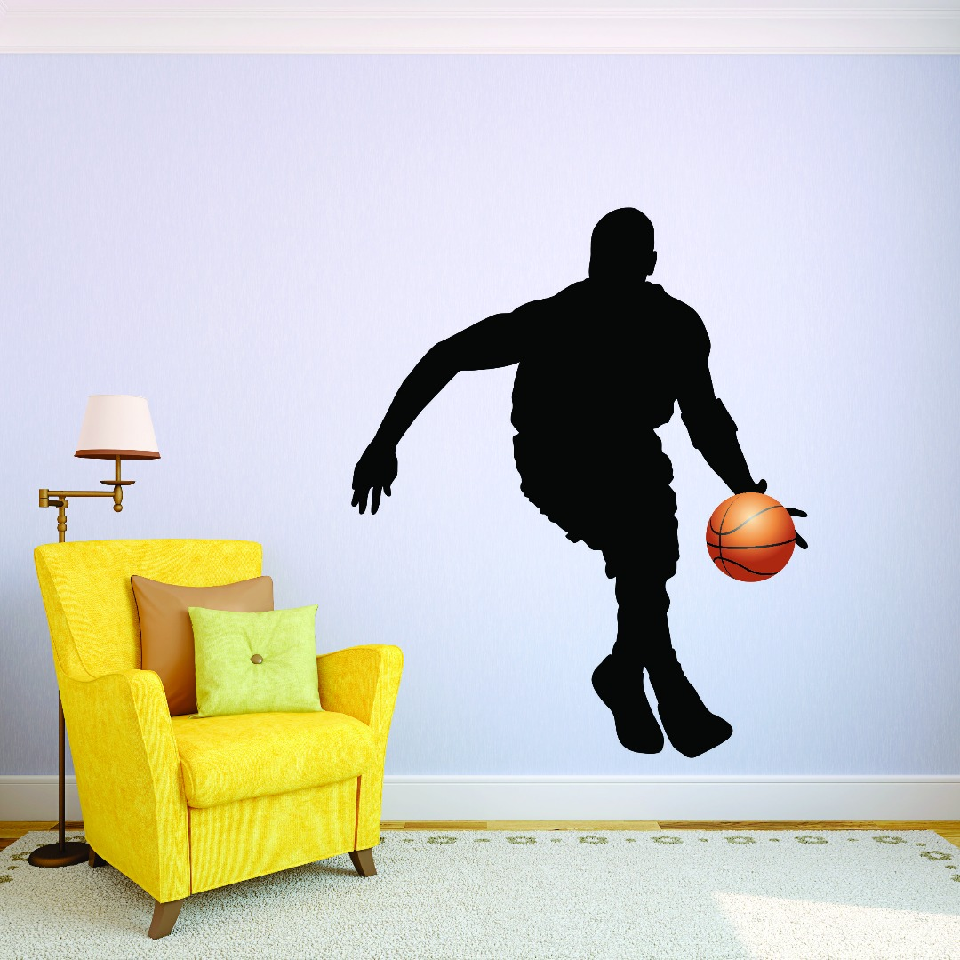 Custom Wall Decal Sticker : Basketball Player Sports Home Decor Picture Art  10x20 Inches