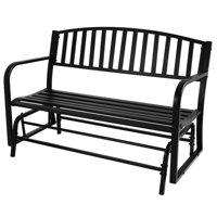 "Belleze 50"" Outdoor Garden Bench Glider Rocker Seat Swing Steel Frame, Black"