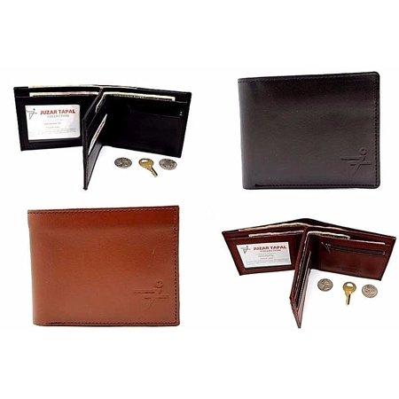 Black Men's Cow Leather Bifold Wallet Center Flip Credit Card 3 Bill Slots (52-03-15) (Center Flap Bi Fold)