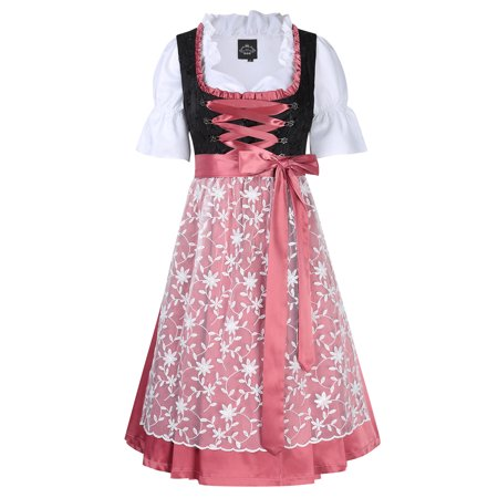 Women's Ruffle Floral 3pcs Beer Dress Traditional Dirndl Set for Oktoberfest Carnival Theme Party Cosplay