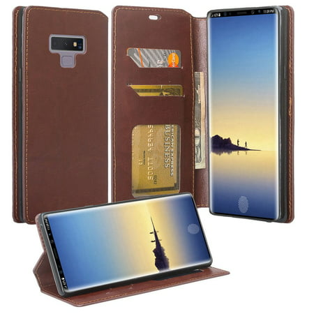 Samsung Galaxy Note 9 Case, Slim Flip Folio [Kickstand] Pu Leather Wallet Case with ID & Card Slots & Pocket Phone Case Cover for Galaxy Note 9 - (Best Brush Set With Pu Cases)