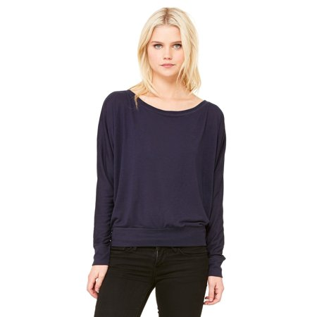 Branded Bella + Canvas Ladies Flowy Long Sleeve Off Shoulder T-Shirt - MIDNIGHT - S (Instant Saving 5% & more on min 2)