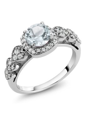 Sky Blue Aquamarine 925 Sterling Silver Women's Engagement Ring 1.07 Cttw Round (Available 5,6,7,8,9)