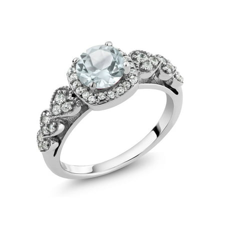 1.07 Ct Round Sky Blue Aquamarine 925 Sterling Silver Ring - Blue Lantern Ring For Sale