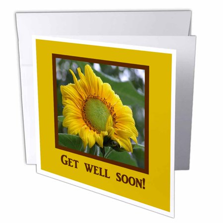 3dRose Morning Sunflower, Get Well Soon, Greeting Cards, 6 x 6 inches, set of