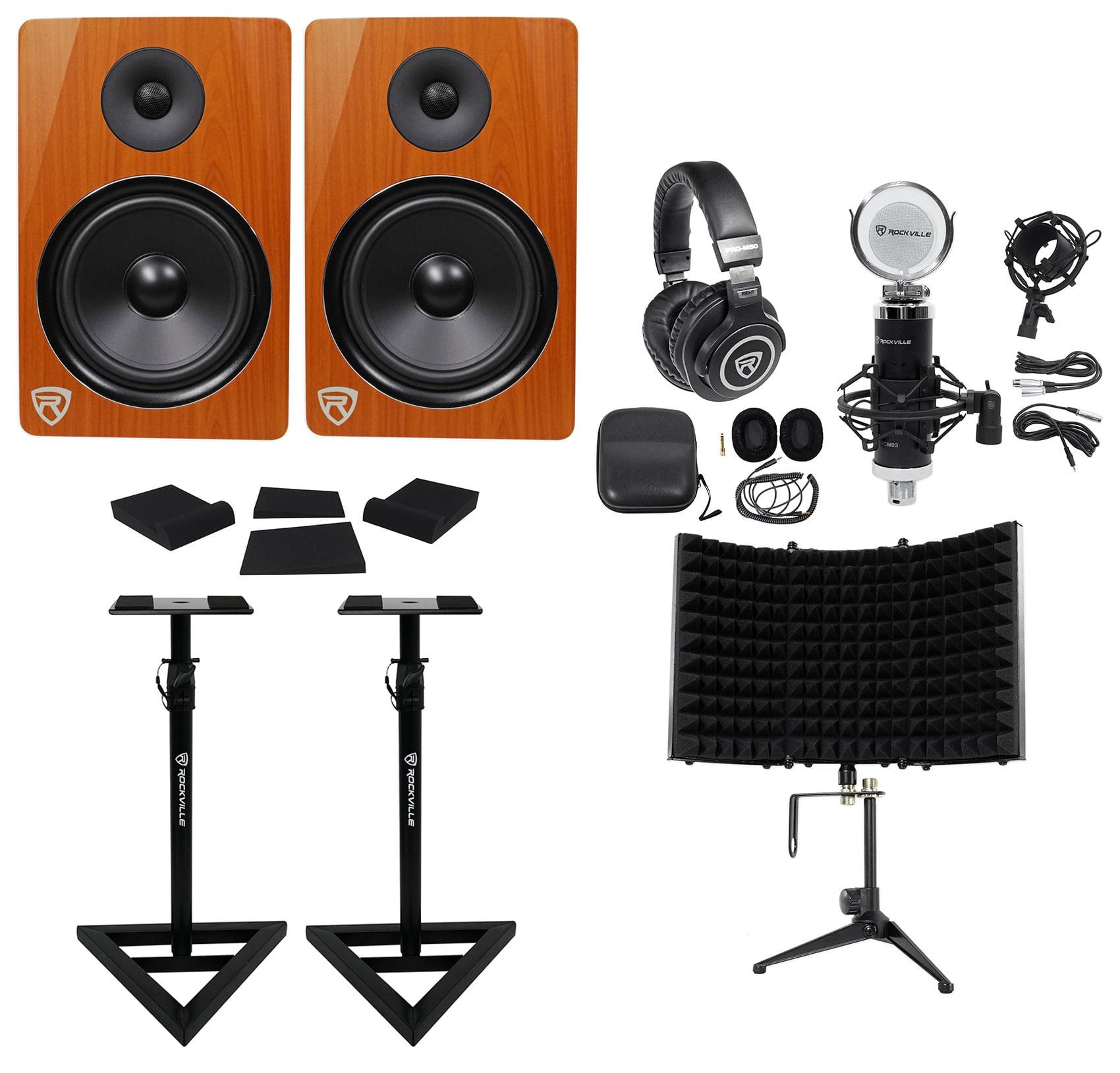 "2) Rockville DPM8C 8"" 600w Active Studio Monitors+Stands+Headphones+Mic+Shield by ROCKVILLE"