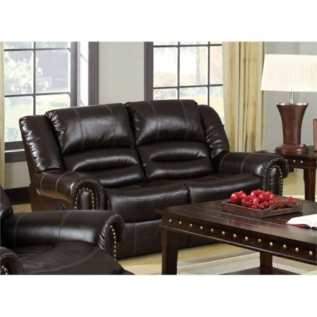 Miraculous Furniture Of America Hubbard Faux Leather Reclining Loveseat In Brown Machost Co Dining Chair Design Ideas Machostcouk