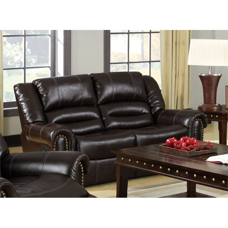 Furniture of America Hubbard Faux Leather Reclining Loveseat in Brown