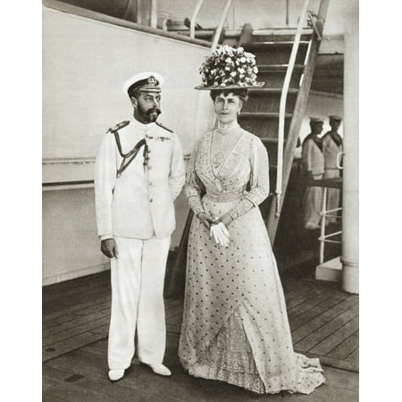 King George V And Queen Mary In 1911 On Board The Medina For Their Visit To India George V George Frederick Ernest Albert 1865 Canvas Art - Ken Welsh Design Pics (26 x 34)