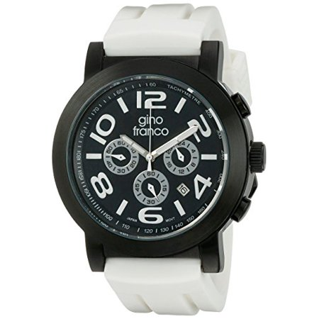 Men's 9620WT Round Multi-Function Stainless Steel PVD Plated Case Rubber Strap - Pvd Plated Stainless Steel Case