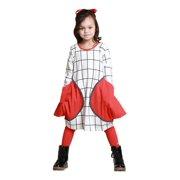 KidCuteTure Girls White Poppy Red Pockets Betty Fall Designer Dress 7-14