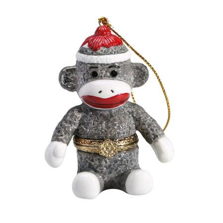 Porcelain Secret Hidden Compartment Sock Monkey Christmas - Christmas Sock Monkey