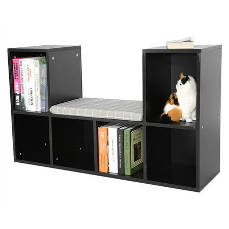 Dilwe Cube Storage Organizer Bookcase,Multi-functional Wooden Storage Shelf  Bookshelf Bookcase with Reading Nook Holder Decor Rooms