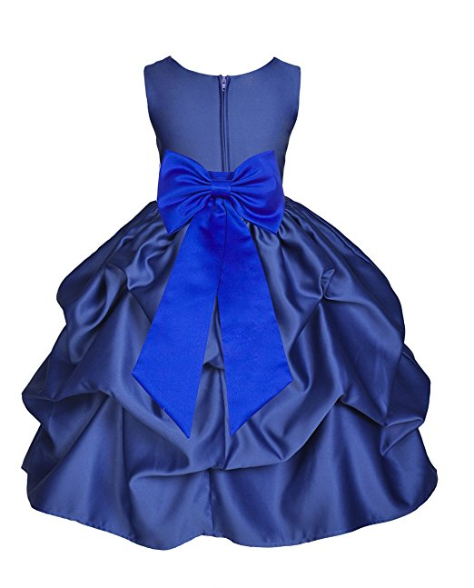 NAVY BLUE Flower Girl Dress Birthday Recital Formal Dance Wedding Party Pageant