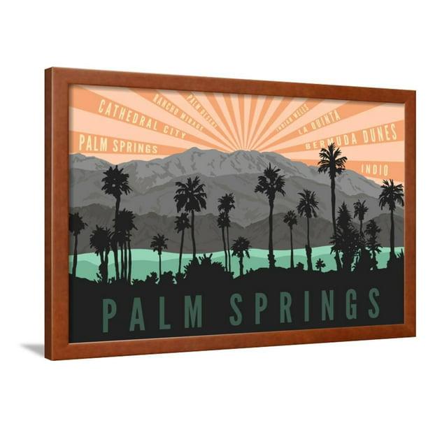 Palm Springs California Palm Trees And Mountains Vintage Style Mid Century Modern Travel Art Framed Print Wall Art By Lantern Press Walmart Com Walmart Com