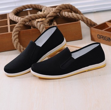 Men Chinese Hollow Out Slip On Canvas Cloth shoes Working Flat Casual Loafers ,black 40 color
