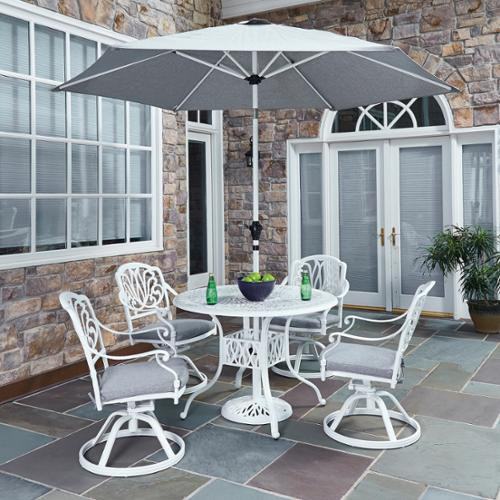 Home Styles Floral Blossom II 5-piece Dining Set with Swivel Chairs with umbrella
