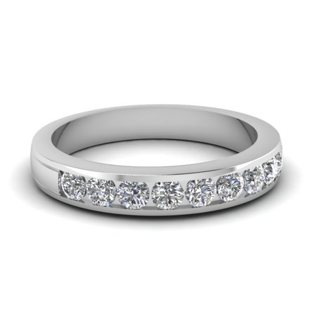 1/2 Carat Round Cut Channel Set Simple Classic Diamond Wedding Band For Women Solid White (Channel Set Round Cut Diamond)