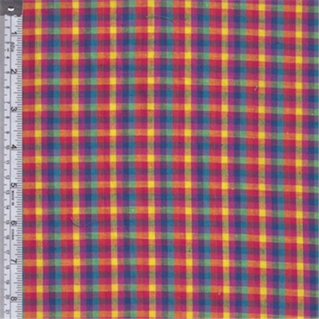 Textile Creations RW0134 Rustic Woven Fabric, Plaid Aqua, Orange And Fuchsia, 15 yd.