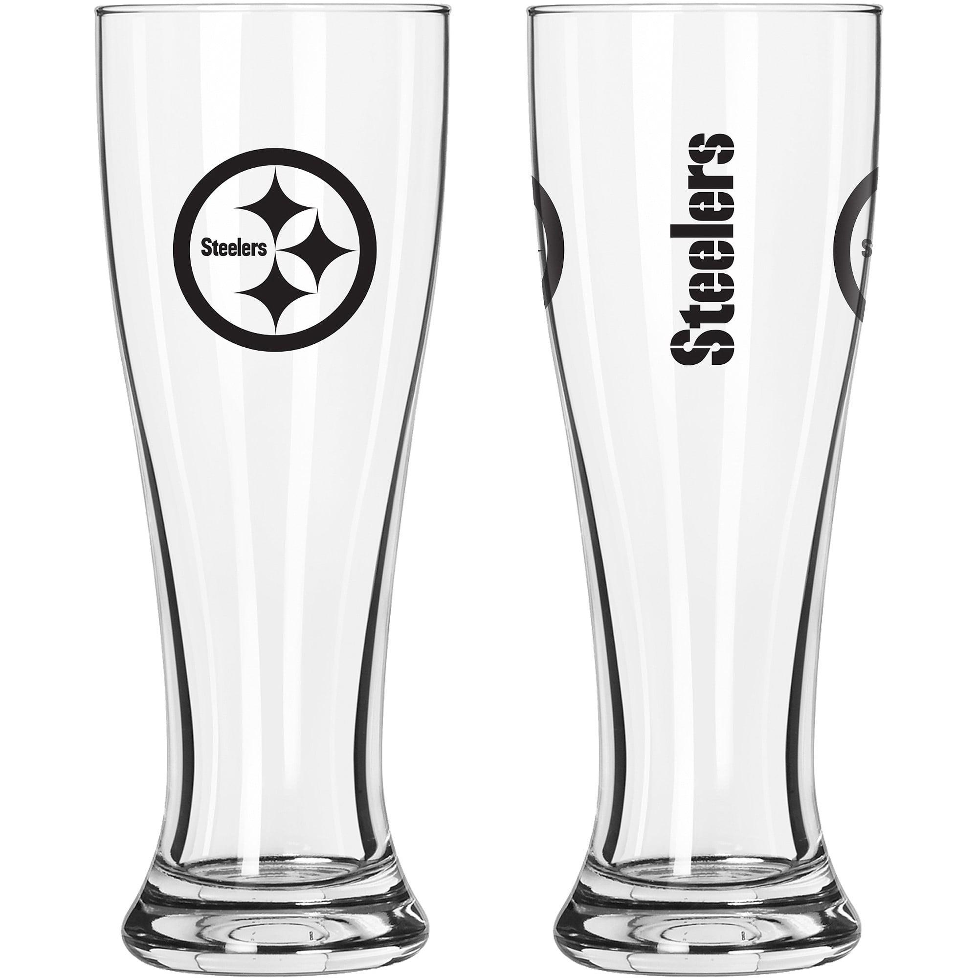 16oz NFL Pittsburgh Steelers Gameday Style Glass Pilsner Set, 2pk