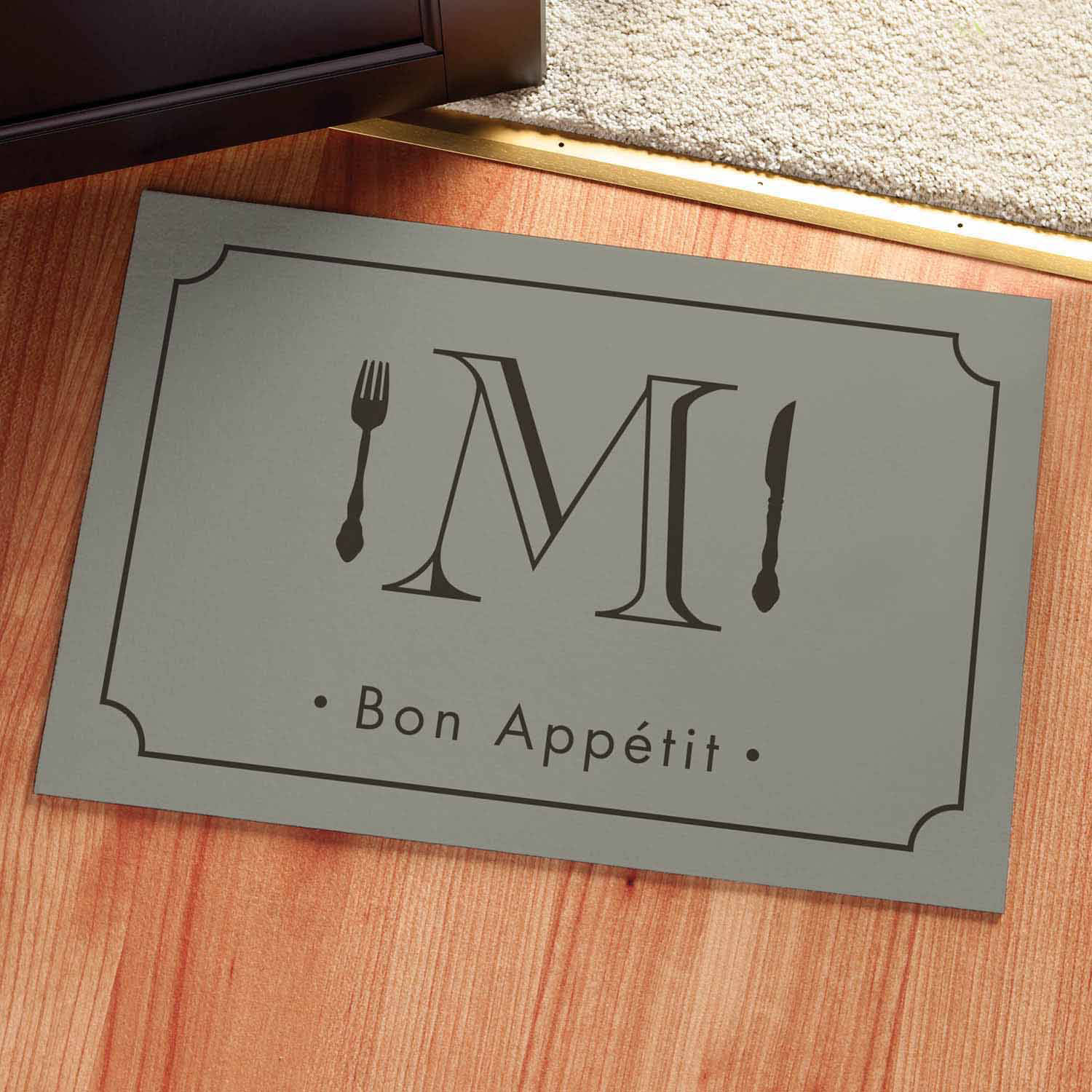 Personalized Bon Appetit Initial Doormat Available In Multiple Colors