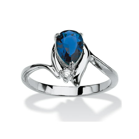 Pear-Cut Birthstone and Crystal Accent Ring in Silvertone - September- Simulated -