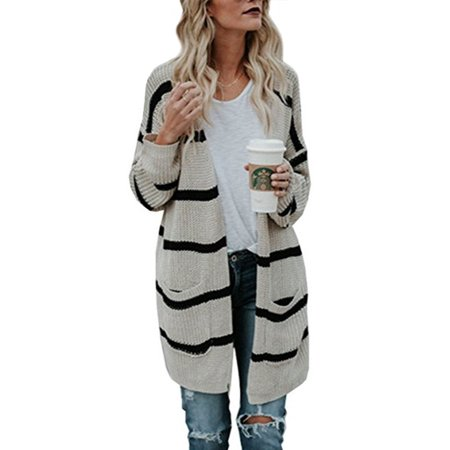 Sexy Dance - Plus Size Open Front Knit Cardigan Sweater Striped Pocket  Knitted Outwear Casual Loose Long Sleeve Knitting Coat Jacket - Walmart.com 3d90338f5