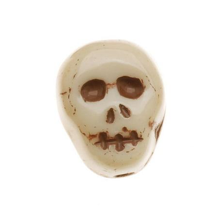 Czech Glass Small Ivory Color Skull Beads Pendants 12mm (10) 12mm Czech Glass Pearl Beads
