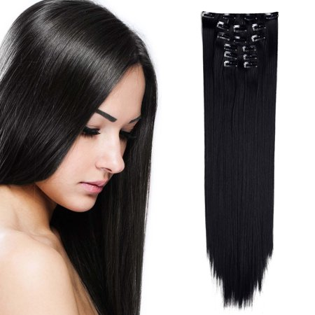 "OneDor 24"" Straight Full Head Clip in Synthetic Hair Extensions 7pcs 140g"