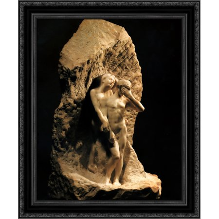 Adam and Eve expelled from Paradise 20x23 Black Ornate Wood Framed Canvas Art by Rodin,