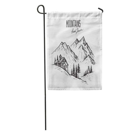 LADDKE Tree of Mountain Landscape Pen Ink Forest Graphic Range Sketch Garden Flag Decorative Flag House Banner 28x40 inch ()