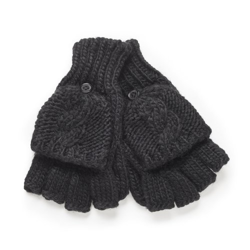 Private Label Women's Solid Cable Poptop Gloves, Black
