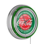 Red & Green Coca Cola Neon Clock - Two Neon Rings