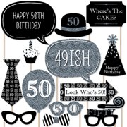 Adult 50th Birthday - Silver - Birthday Party Photo Booth Props Kit - 20 Count